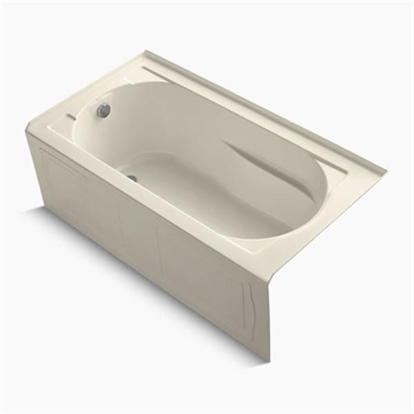 KOHLER 60-in x 32-in Alcove Bath with Bask Heated Surface and Integral Apron
