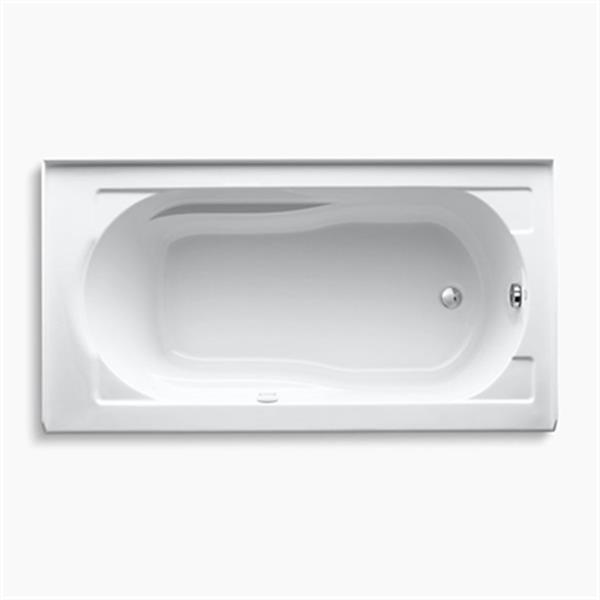 KOHLER 60-in x 32-in Alcove BubbleMassage Air Bath with Integral Apron, Tile Flange and Heater