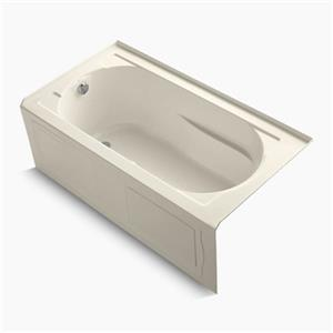 KOHLER 60-in x 32-in Alcove BubbleMassage Air Bath with Bask Heated Surface, Integral Apron and Tile Flange