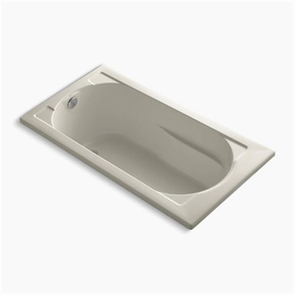 KOHLER 60-in x 32-in Drop-in VibrAcoustic Bath with Bask Heated Surface and Reversible Drain