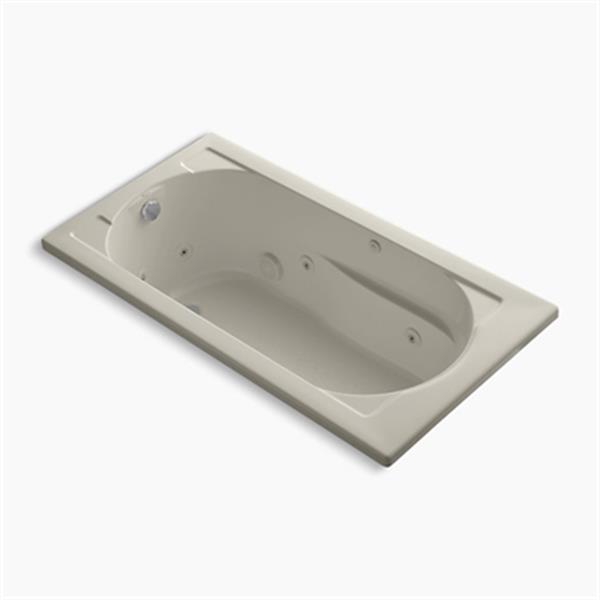 KOHLER 60-in x 32-in Drop-in Whirlpool Reversible Drain and Bask Heated Surface