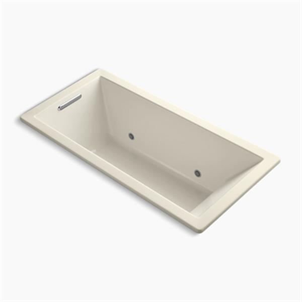 KOHLER 66-in x 32-in Drop-in VibrAcoustic Bath with Bask Heated Surface and Chromatherapy