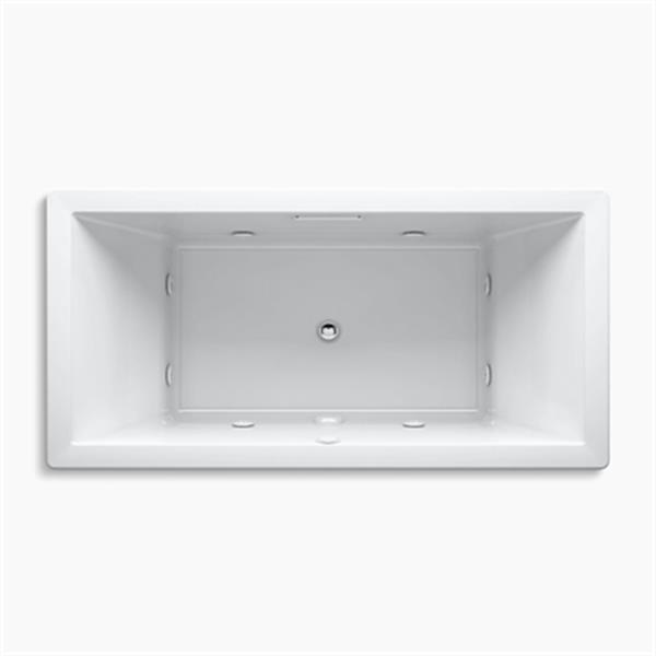 KOHLER 72-in x 36-in Drop-in Whirlpool with Heater and with Center Drain