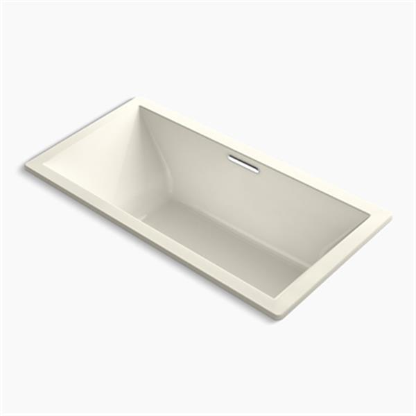 KOHLER 72-in x 36-in Drop-in VibrAcoustic Bath with Center Drain