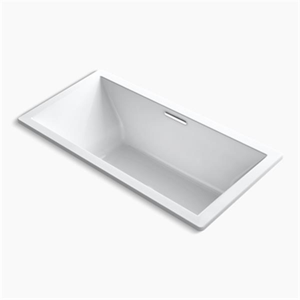 KOHLER 72-in x 36-in Drop-in VibrAcoustic Bath with Bask Heated Surface and Center Drain