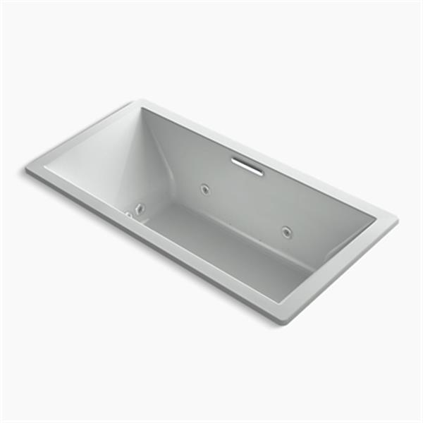KOHLER 72-in x 36-in Drop-in Whirlpool + BubbleMassage Air bath with Center Drain