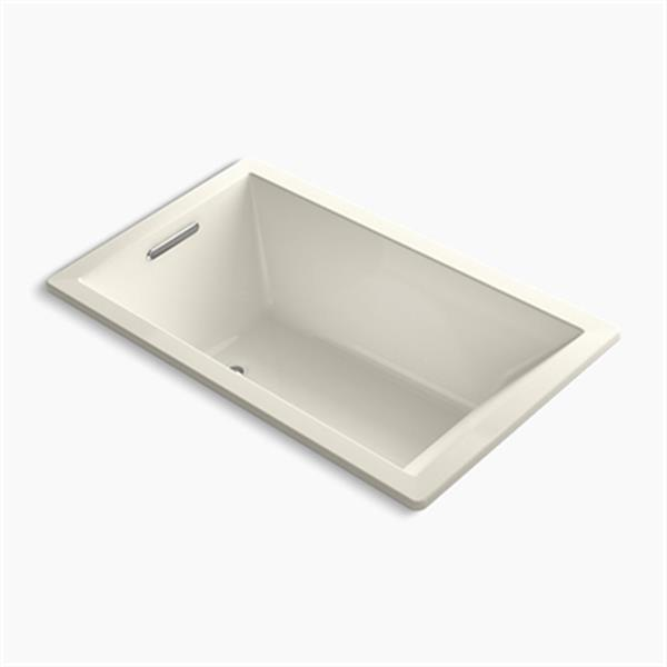 KOHLER 60-in x 36-in Rectangle Drop-in BubbleMassage Air bath with Reversible Drain and Bask Heated Surface