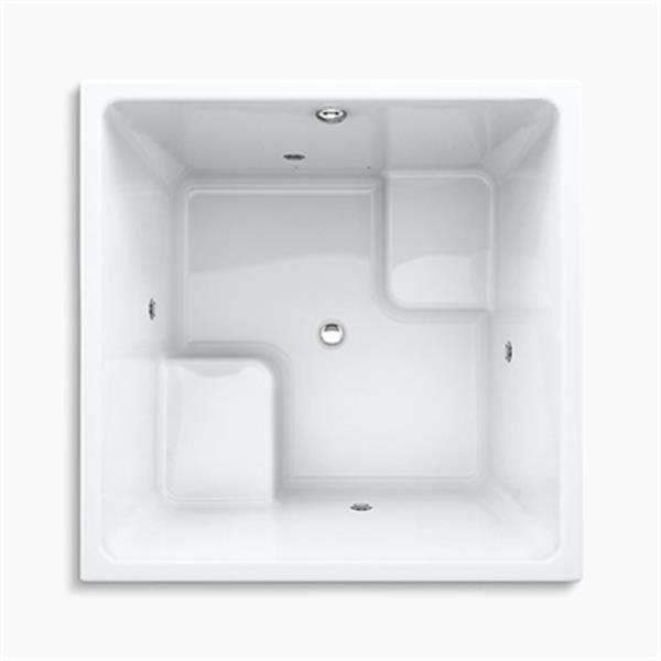 KOHLER 48-in x 48-in Cube Drop-in BubbleMassage Air bath with Chromatherapy