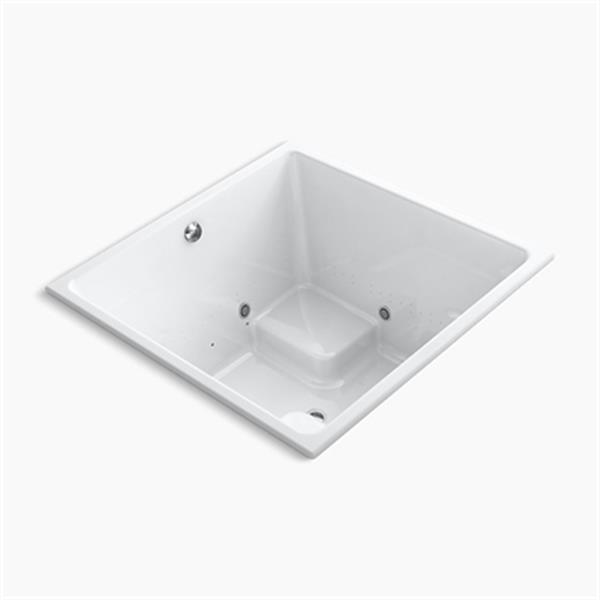KOHLER 48-in x 48-in Cube Drop-in BubbleMassage Air bath with Bask Heated Surface, Chromatherapy and Center Drain