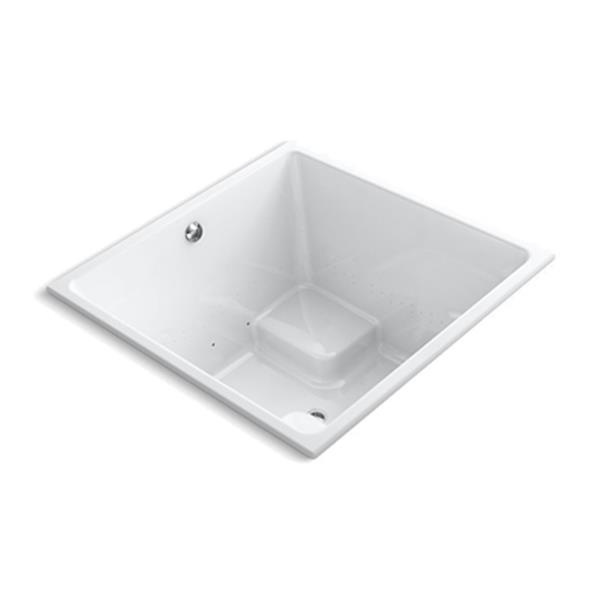 KOHLER 48-in x 48-in Cube Drop-in BubbleMassage Air bath with Bask Heated Surface and Center Drain