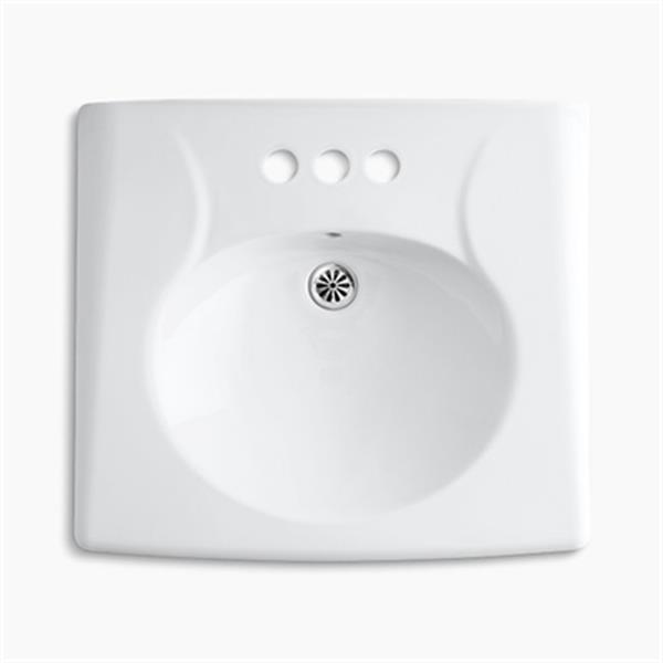 KOHLER Brenham 19.75-in x 21.94-in White Wall-Mount Sink