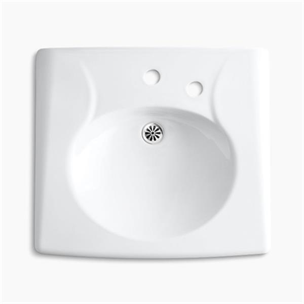 KOHLER Brenham 19.75-in x 21.94-in White Wall-Mount Sink with Overflow