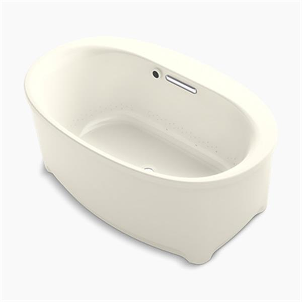 KOHLER 60-in x 36-in Oval Freestanding BubbleMassage Air bath with Bask Heated Surface