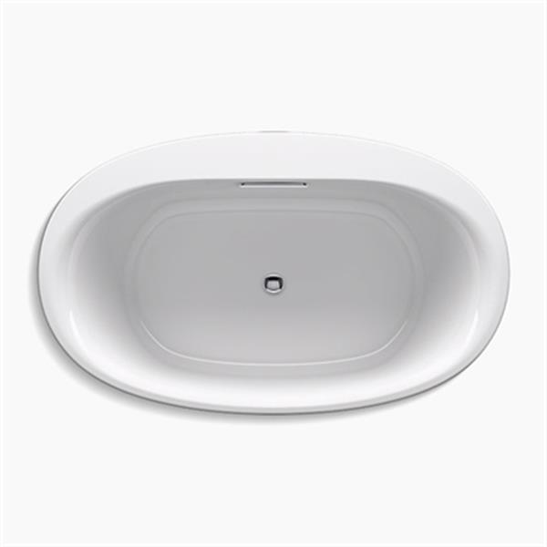 KOHLER 60-in x 36-in Oval Freestanding VibrAcoustic Bath with Bask Heated Surface