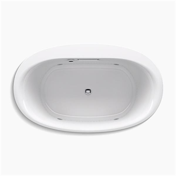 KOHLER 60-in x 36-in Oval Drop-in BubbleMassage Air bath with Chromatherapy