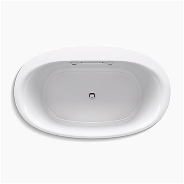 KOHLER 60-in x 36-in Oval Drop-in BubbleMassage Air bath with Bask Heated Surface and Chromatherapy