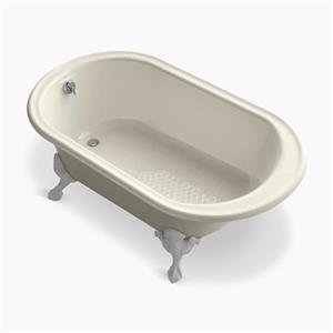 KOHLER Historic 66-in x 36-in Freestanding Oval Bath with Reversible Drain and Safeguard Finish