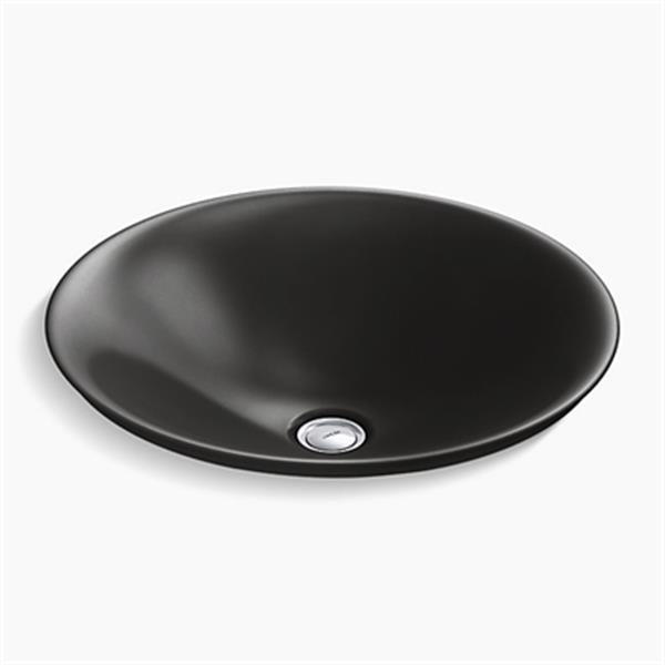 KOHLER Carillon 17.68-in Black Wading Pool Round Above-Counter Bathroom Sink