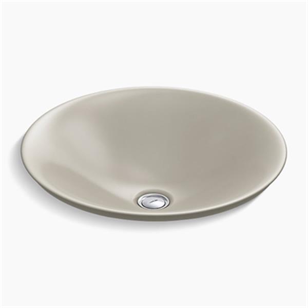KOHLER Carillon 17.68-in Sandbar Grey Wading Pool Round Above-Counter Bathroom Sink