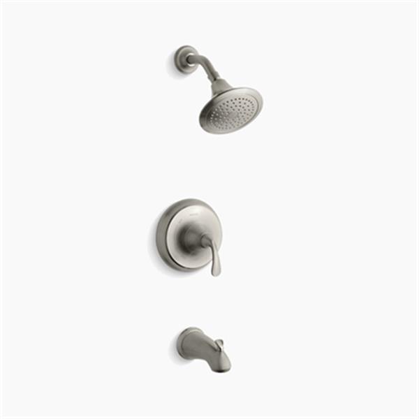 KOHLER Forté Vibrant Brushed Nickel Sculpted Lever Handle Pressure-Balancing Bath and Shower Trim Set
