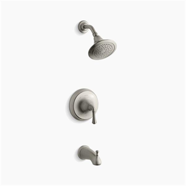 KOHLER Forté Vibrant Brushed Nickel Lever Handle Pressure-Balancing Bath and Shower Trim Set