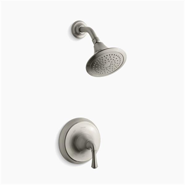 KOHLER Forté Vibrant Brushed Nickel Rite-Temp Pressure-Balancing Shower Trim Set with Traditional Lever Handle