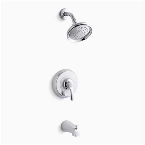KOHLER Fairfax Polished Chrome Rite-Temp Pressure Balancing Bath-Shower Faucet Trim with Lever Handle Slip-Fit Diverter Spout