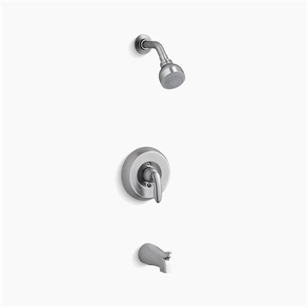 KOHLER Coralais Brushed Chrome Bath and Shower Trim Set with lever Handle and Slip-Fit Spout