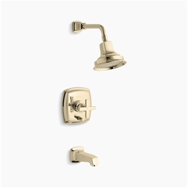 KOHLER Margaux  French Gold Rite-Temp Pressure Balancing Bath and Shower Faucet Trim with Push-Button Diverter and Lever Handle