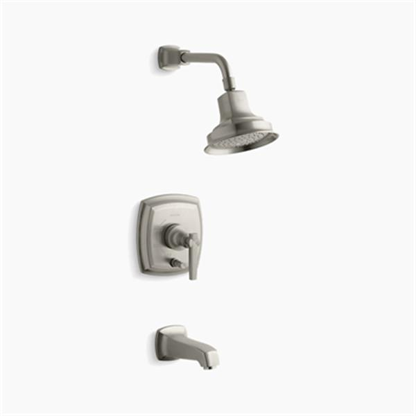 KOHLER Margaux Brushed Nickel Rite-Temp Pressure Balancing Bath and Shower Faucet Trim with Push-Button Diverter Lever Handle