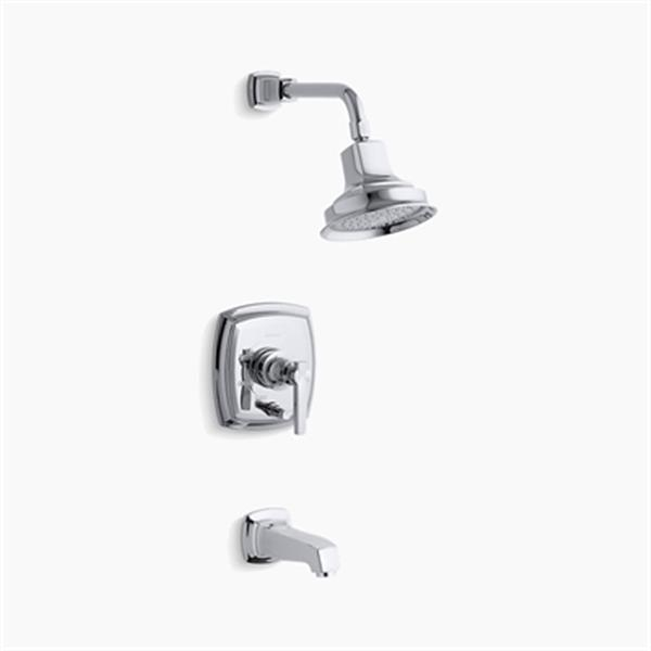KOHLER Margaux  Polished Chrome Rite-Temp Pressure Balancing Bath and Shower Faucet Trim Push-Button Diverter and Lever Handle