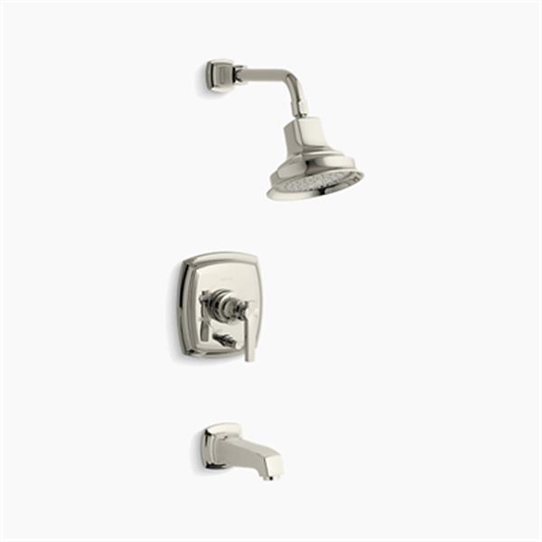KOHLER Margaux Polished Nickel Rite-Temp Pressure Balancing Bath and Shower Faucet Trim with Push-Button Diverter Lever Handle