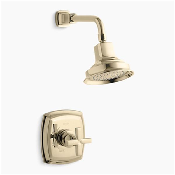 KOHLER Margaux Viabrant French Gold Rite-Temp Pressure Balancing Shower Faucet with Cross Handle