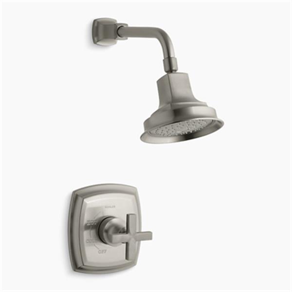 KOHLER Margaux Viabrant Brushed Nikel Rite-Temp Pressure Balancing Shower Faucet with Cross Handle