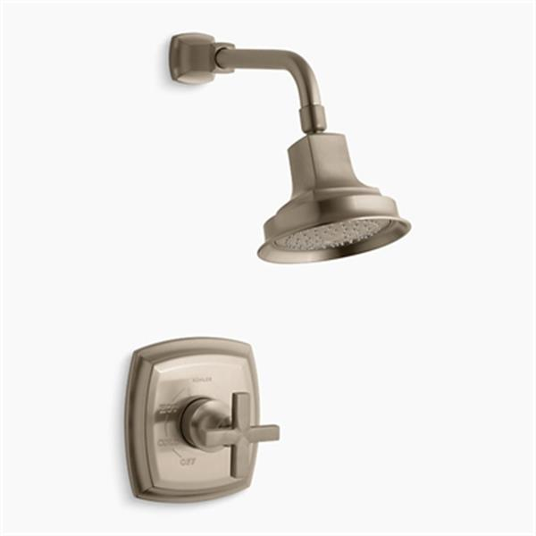 KOHLER Margaux Vibrant Brushed Bronze Rite-Temp Pressure-Balancing Shower Faucet Trim with Cross Handle