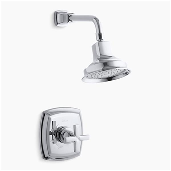 KOHLER Margaux Polished Chrome Rite-Temp Pressure-Balancing Shower Faucet Trim with Cross Handle