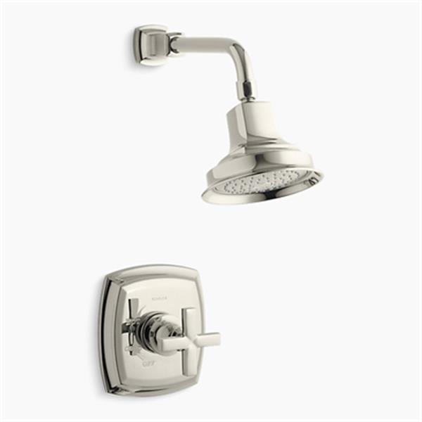 KOHLER Margaux  Vibrant Polished Gold Rite-Temp Pressure-Balancing Shower Faucet Trim with Cross Handle
