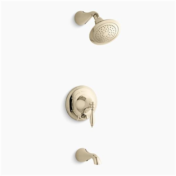 KOHLER Finial French Gold Traditional Rite-Temp Pressure-Balancing Bath and Shower Trim with Push-Button Diverter Lever Handle