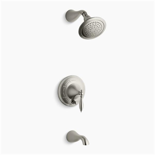 KOHLER Finial Vibrant Brushed Nickel Rite-Temp Pressure-Balancing Bath and Shower Trim with Push-Button Diverter Lever Handle