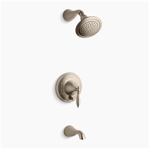 KOHLER Finial Vibrant Brushed Bronze Rite-Temp Pressure-Balancing Bath and Shower Trim with Push-Button Diverter Lever Handle