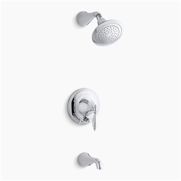 KOHLER Finial Polished Chrome Rite-Temp Pressure-Balancing Bath and Shower Faucet Trim with Push-Button Diverter Lever Handle