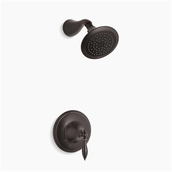 KOHLER Finial Oil Rubbed Bronze Traditional Rite-Temp Pressure-Balancing Shower Faucet Trim with Lever Handle