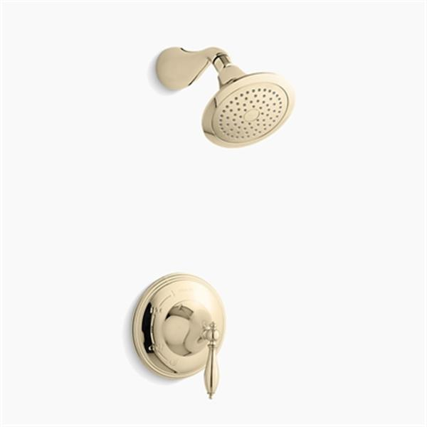 KOHLER Finial Vibrant French Gold Traditional Rite-Temp Pressure-Balancing Shower Faucet Trim with Lever Handle