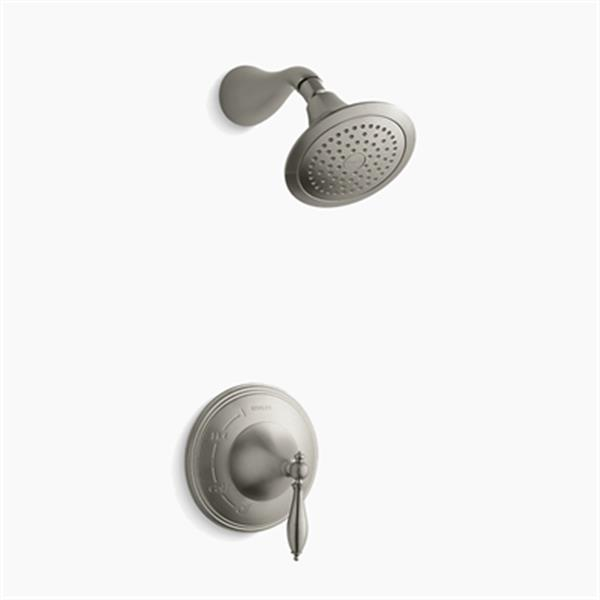 KOHLER Finial Vibrant Brushed Nickel Traditional Rite-Temp Pressure-Balancing Shower Faucet Trim with Lever Handle