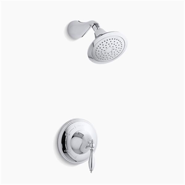 KOHLER Finial Polished Chrome Traditional Rite-Temp Pressure-Balancing Shower Faucet Trim with Lever Handle