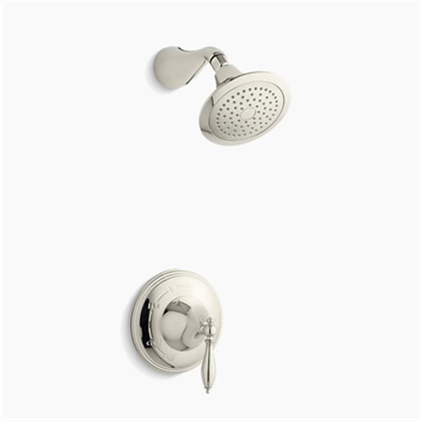 KOHLER Finial Vibrant Polished Nickel Traditional Rite-Temp Pressure-Balancing Shower Faucet Trim with Lever Handle