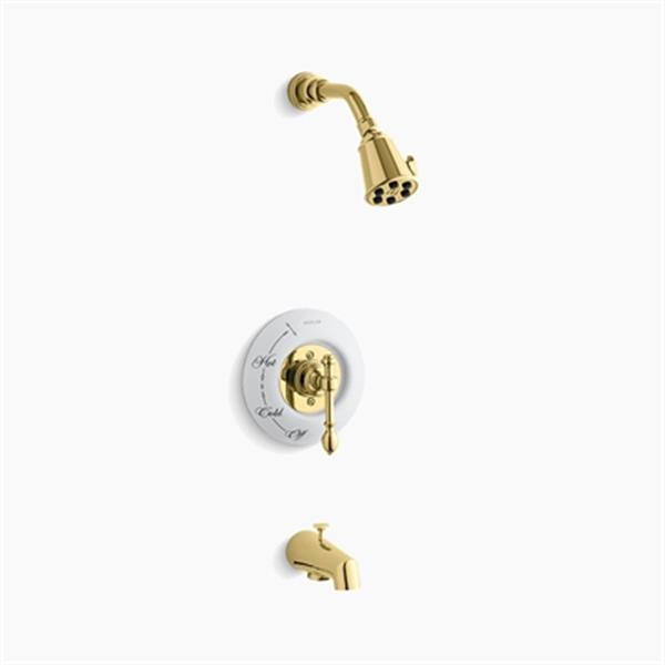 KOHLER IV Georges Brass Vibrant Polished Brass Rite-Temp Pressure-Balancing Bath/Shower Faucet Trim with Lever Handle