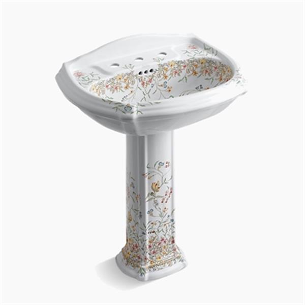 KOHLER 27-in White English Trellis Portrait Pedestal Bathroom Sink