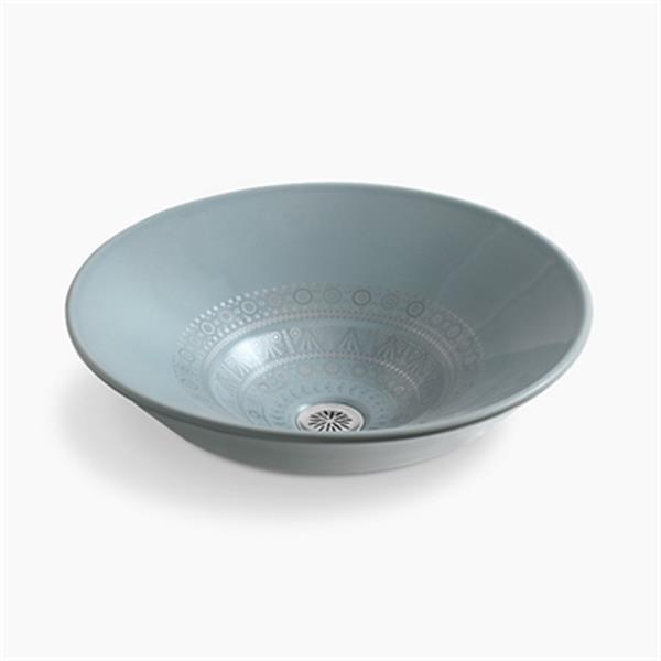 KOHLER Caravan 14.25-in Translucent Blue Nepal Conical Bell Vessel Bathroom Sink