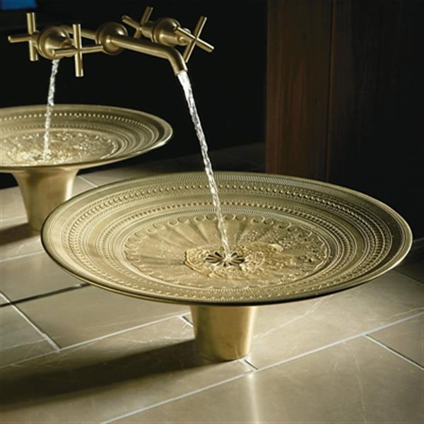 KOHLER Kamala 19.87-in Tumbled Bronze With Living Finish Vessel Cast